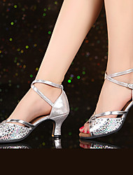 cheap -Women's Dance Shoes Faux Leather Latin Shoes / Salsa Shoes Sparkling Glitter / Buckle / Ruffles Heel Cuban Heel Non Customizable Gold / Silver / Nude / Indoor / EU42