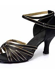 cheap -Women's Dance Shoes Satin Latin Shoes Buckle Sandal / Heel Cuban Heel Customizable Black / Gold / Blue / Red / Black / Performance