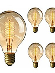 cheap -5pcs 40 W E26 / E27 G95 Warm White 2200-2800 k Retro / Dimmable / Decorative Incandescent Vintage Edison Light Bulb 220-240 V
