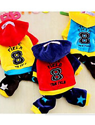cheap -Dog Coat Dog Clothes Solid Colored Yellow Red Blue Cotton Costume For Winter Casual / Daily Sports