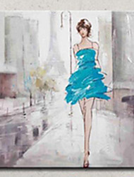cheap -High Skill Artist Hand Painted Oil Painting Art Lady with Blue Dress Unformed Decoartion Canvas Paintings for Coffee Store With Frame