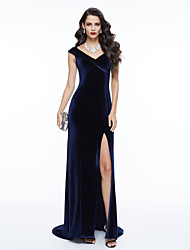 cheap -Sheath / Column V Neck Sweep / Brush Train Velvet Furcal / Elegant Formal Evening / Black Tie Gala Dress 2020 with Split Front