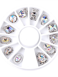 cheap -1set nail shaped white ab manicure alloy jewelry ornaments