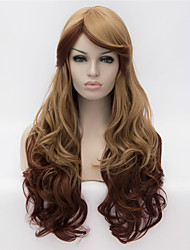 cheap -cosplay wigs color wig fashion side brown gradient 26 inch long curly hair Halloween