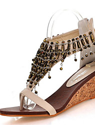 cheap -Women's Sandals Wedge Sandals Wedge Heel Open Toe Zipper / Chain / Tassel Leatherette Club Shoes Summer Black / Almond / Wedge Heels