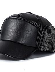 cheap -Men's Vintage PU Beret Hat-Patchwork Fall Winter Black Gray