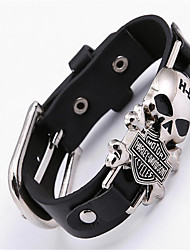 cheap -Leather Bracelet Skull Ladies Bohemian Punk Rock Gothic Leather Bracelet Jewelry Black For Christmas Gifts Party Special Occasion Anniversary Birthday Engagement