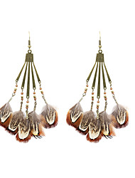 cheap -Drop Earrings Feather Earrings Jewelry Brown / Depression Pink For Wedding Party Halloween Daily Casual Sports