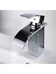 cheap -Bathroom Sink Faucet - Waterfall / Widespread / Thermostatic Chrome Centerset One Hole / Single Handle One HoleBath Taps