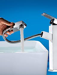 cheap -Contemporary Art Deco/Retro Centerset Pullout Spray Ceramic Valve Single Handle One Hole Painting, Bathroom Sink Faucet