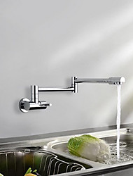 cheap -Kitchen faucet - Single Handle One Hole Chrome Pull-out / ­Pull-down / Standard Spout / Tall / ­High Arc Wall Mounted Contemporary / Art Deco / Retro / Modern Kitchen Taps