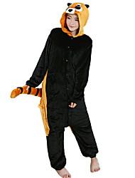 cheap -Adults' Kigurumi Pajamas Raccoon Onesie Pajamas Flannel Toison Black Cosplay For Men and Women Animal Sleepwear Cartoon Festival / Holiday Costumes