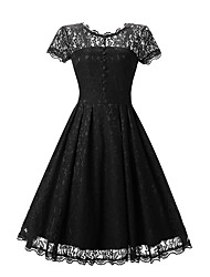 cheap -Women's Daily Holiday Beach Vintage Lace Swing Dress - Jacquard Lace Summer Cotton Blue Black Red L XL XXL