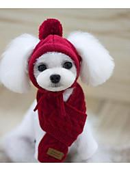 Недорогие -Собака Платки и шапочки Шарф для собаки Зима Одежда для собак Красный Темно-синий Серый Костюм Хлопок Однотонный Сохраняет тепло S M