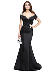cheap -Mermaid / Trumpet Beautiful Back Holiday Cocktail Party Formal Evening Dress Off Shoulder Short Sleeve Sweep / Brush Train Satin with Beading 2020