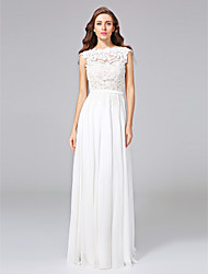 cheap -Sheath / Column Wedding Dresses Bateau Neck Sweep / Brush Train Chiffon Floral Lace Cap Sleeve Romantic Illusion Detail Backless with Bowknot Sash / Ribbon 2021