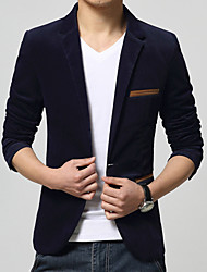 cheap -Men's Party / Daily / Work Spring / Fall Regular Blazer, Color Block Notch Lapel Long Sleeve Cotton / Acrylic Black / Wine / Navy Blue / Slim