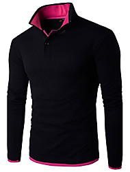cheap -Men's Daily Work Weekend Active Plus Size Slim Polo - Color Block Basic Shirt Collar Red / Long Sleeve / Spring / Fall