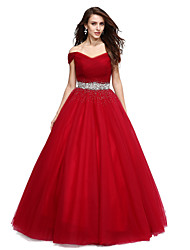 cheap -Ball Gown Elegant Formal Evening Dress Off Shoulder V Wire Sleeveless Floor Length Tulle with Beading Sequin 2020