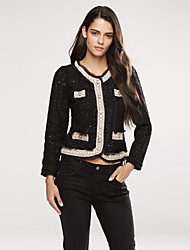 cheap -Women's Daily / Going out Vintage / Sophisticated Spring / Fall Short Blazer, Solid Colored Round Neck Long Sleeve Beaded Black / White