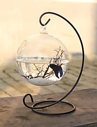 cheap -Fish Tank Fish Bowl Ornament Black Glass 1 pc