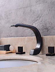 cheap -Bathroom Sink Faucet - Widespread Oil-rubbed Bronze Widespread Two Handles Three HolesBath Taps / Brass