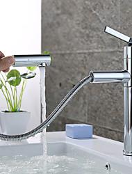cheap -Art Deco/Retro Centerset Pullout Spray Rotatable Ceramic Valve Single Handle One Hole Chrome, Bathroom Sink Faucet