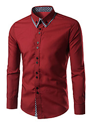 cheap -Men's Daily Casual Shirt - Check Button Down Collar Red / Long Sleeve / Spring / Fall