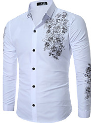 cheap -Men's Daily Plus Size Slim Shirt - Floral Print Classic Collar Black / Long Sleeve / Spring / Fall