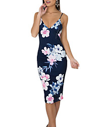 cheap -Women's Floral Daily Going out Vintage Boho Sheath Dress - Floral Backless Strap Summer Navy Blue M L XL / Slim