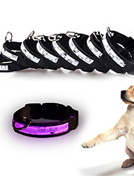 cheap -Cat Dog Collar Reflective LED Lights Adjustable / Retractable Batteries Included Electronic / Electric Strobe / Flashing Safety Polka Dot Solid Colored Cartoon Plastic Nylon White Yellow Red Blue Pink