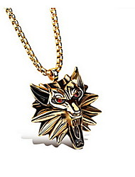 cheap -Men's Pendant Animal Wolf Luxury Basic Fashion Chunky Titanium Steel Imitation Diamond Gold Silver Necklace Jewelry For Daily Casual
