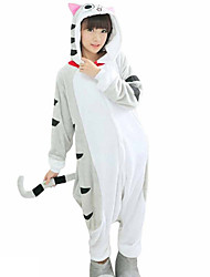 cheap -Adults' Kigurumi Pajamas Cat Onesie Pajamas Flannel Fabric Gray Cosplay For Men and Women Animal Sleepwear Cartoon Festival / Holiday Costumes