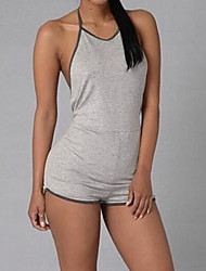 cheap -Women's Sports / Weekend Active Halter Neck Black Gray Slim Romper Onesie, Solid Colored Backless S M L High Rise Sleeveless Summer