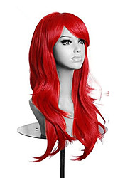 cheap -high quality red long wavy women wig synthetic lolita cosplay wig 5 colors Halloween