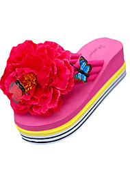 cheap -Women's Slippers & Flip-Flops Wedge Heel Flip-Flops Flat Heel Round Toe Flower PU(Polyurethane) Summer Black / Yellow / Fuchsia