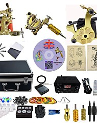 cheap -BaseKey Professional Tattoo Kit Tattoo Machine - 3 pcs Tattoo Machines, Professional LCD power supply 3 alloy machine liner & shader / Case Included