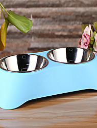 cheap -Cat Dog Bowls & Water Bottles Stainless Steel Waterproof Solid Colored Green Blue Pink Bowls & Feeding