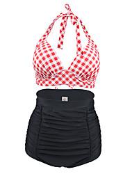 abordables -Femme Taille haute Fleur Géométrique Rétro Licou Noir Rouge Bikinis Maillots de Bain - Tartan XL XXL XXXL Noir / Bohème