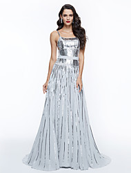 cheap -A-Line Elegant Celebrity Style Inspired by Oscar Holiday Cocktail Party Prom Dress Spaghetti Strap Sleeveless Sweep / Brush Train Sequined with Sash / Ribbon Pleats Sequin 2020 / Formal Evening