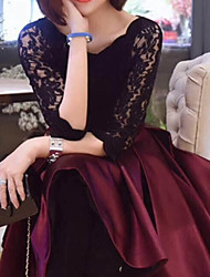 cheap -Women's Knee Length Dress Lace - Half Sleeve Solid Colored Bow Pleated Sophisticated Party Going out Lace Wine Black S M L XL