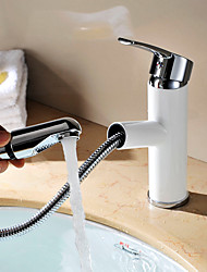 cheap -Copper Bathroom Sink Faucet,Contemporary Modern Centerset Pullout Spray Single Handle One Hole Painting Bathroom Sink Faucet with Hot/Cold Switch and Valve