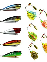 cheap -10 pcs Fishing Lures Hard Bait Buzzbait & Spinnerbait Popper Lure Packs Metal Bait Spinnerbaits Floating Sinking Bass Trout Pike Sea Fishing Fly Fishing Bait Casting Hard Plastic Metal / Spinning