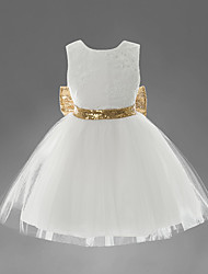 cheap -Toddler Girls' Sweet Party White Solid Colored Embroidered Sequins Bow Layered Sleeveless Dress White