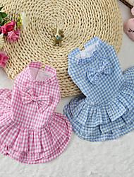 cheap -Cat Dog Dress Dog Clothes Blue Pink Costume Cotton Plaid / Check S M L XL