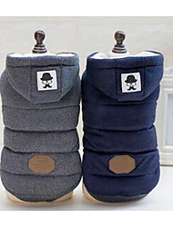 cheap -Dog Coat Dog Clothes Color Block Dark Blue Gray Cotton Costume For Winter Men's Women's Casual / Daily Sports