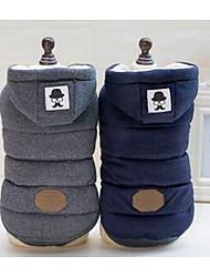 abordables -Chien Manteaux Vêtements pour Chien Bloc de Couleur Bleu de minuit Gris Coton Costume Pour Hiver Homme Femme Décontracté / Quotidien Sportif