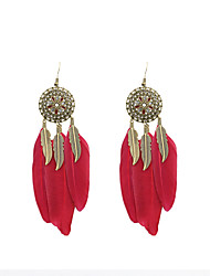 cheap -Drop Earrings Feather Earrings Jewelry Dark Brown / Candy Pink / Royal Blue For Wedding Party Daily Casual Sports