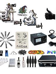 cheap -BaseKey Professional Tattoo Kit Tattoo Machine - 2 pcs Tattoo Machines Analog power supply 2 steel machine liner & shader / Case Included