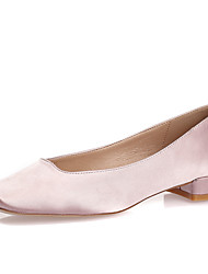 cheap -Women's Heels Low Heel / Chunky Heel / Block Heel Square Toe Silk Spring / Summer / Fall Black / Light Pink / White / Wedding / Party & Evening